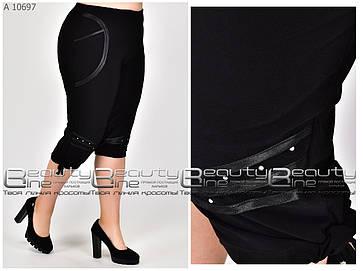 Лёгкие женские  бриджи чёрного цвета из микро масла   батал  с 50 по 70 размер, фото 2
