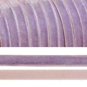 Лента Бархатная (Велюровая) светло-фиолетовая 10 мм, 5 м, фото 2