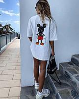 """Женская футболка-туника оверсайз """"Микки"""" (белая и черная, С и М), фото 1"""