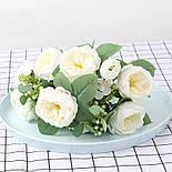 Букет розы Остин с бутонами и ягодами  46 см  белая, фото 6