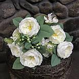 Букет розы Остин с бутонами и ягодами  46 см  белая, фото 7