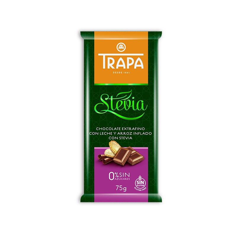 TRAPA шоколад, STEVIA, 75г, молочний, з рисовими кульками