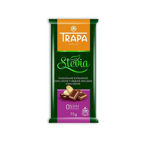 TRAPA шоколад, STEVIA, 75г, молочний, з рисовими кульками, фото 2