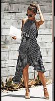 Стильне жіноче плаття - сарафан на бретельках з софта в горох(42-46)