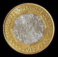 Монета Коморских островов 250 франков 2013 год. 30 лет Центральному Банку.
