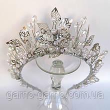 Корона хрустальная с жемчугом бусинами прозрачная тиара диадема нимфа ручной работы свабное украшение