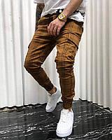 Легкие мужские штаны карго в полоску с 100% коттона(С-ХЛ)