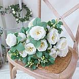 Букет розы Остин с бутонами и ягодами  46 см  белая, фото 3