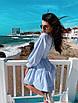 Льняное летнее платье с пышной юбкой и длинным рукавом - фонариком 71ty1264, фото 2