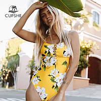 Яркий, слитный, женский купальник с шнуровкой на груди, желтого цвета, фото 1