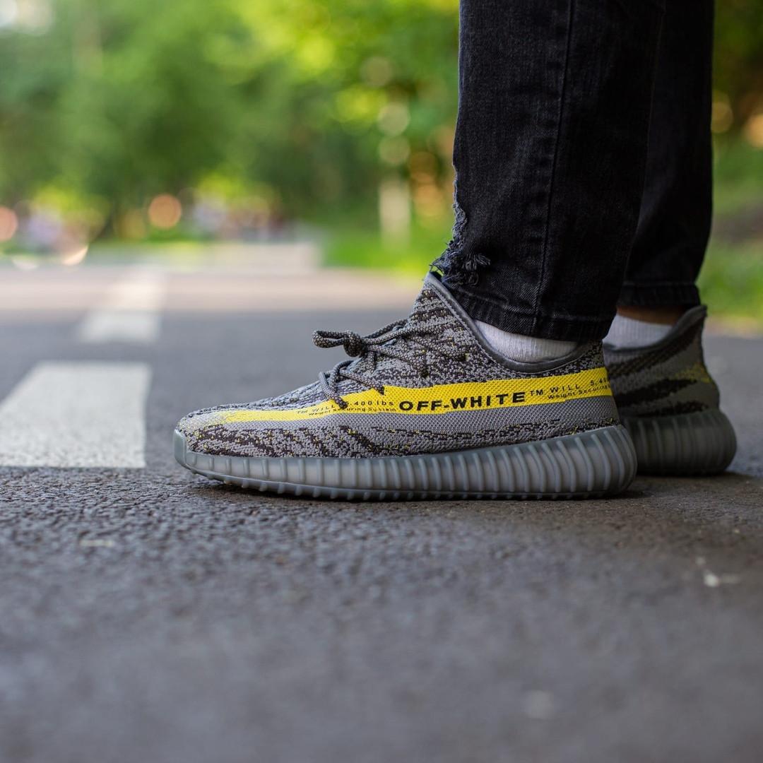 Купить Кроссовки мужские Adidas Yeezy 350 v2 x Off White серые, Адидас Изи Буст, код IN-435 44