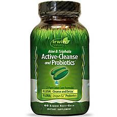 Irwin Naturals, Active-Cleanse and Probiotics, з алое і трифалой, 60 м'яких желатинових капсул з рідиною,