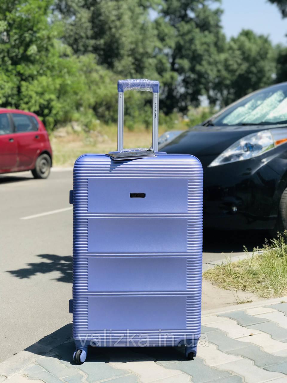 Средний пластиковый чемодан лиловый на 4-х колесах / Середня пластикова валіза