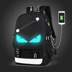 Рюкзак с USB с глазками светящийся в темноте Senkey&Style