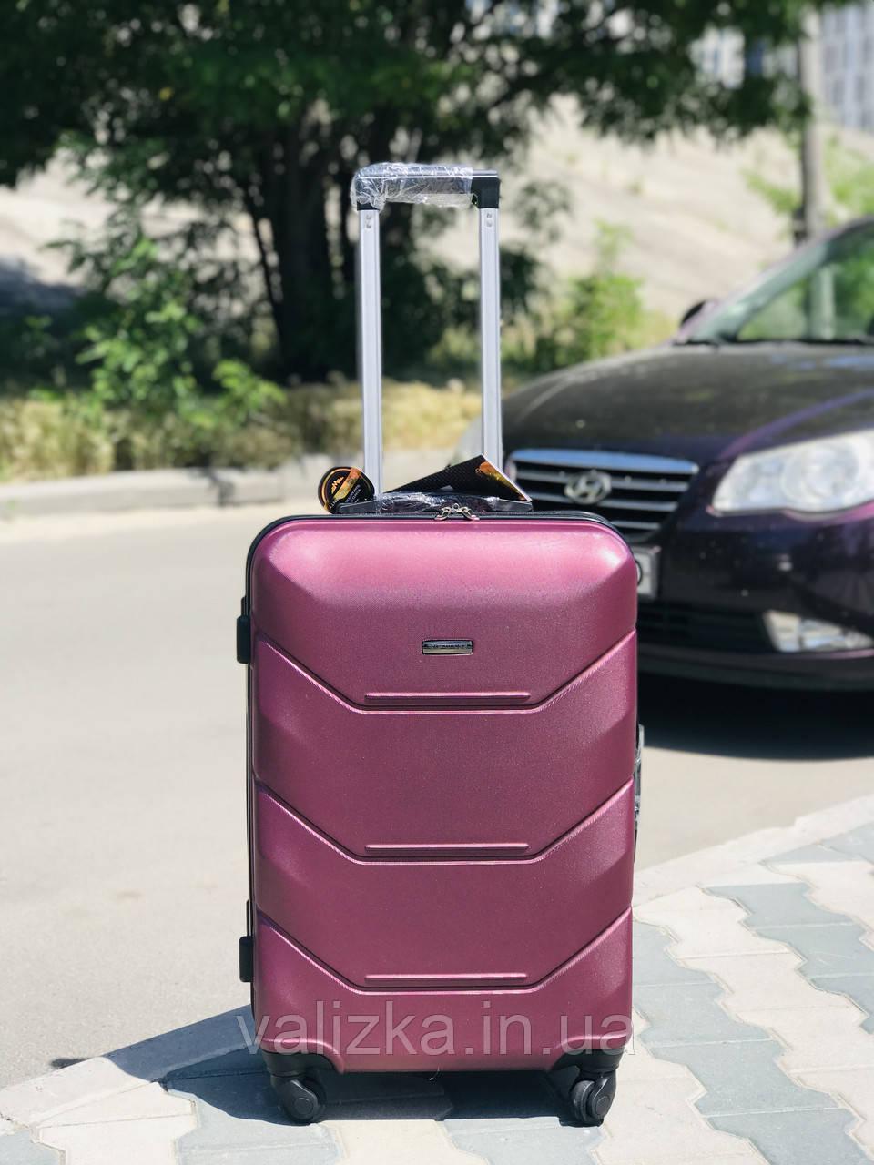 Большой пластиковый чемодан из поликарбоната бордовый на 4-х колесах / Велика пластикова валіза