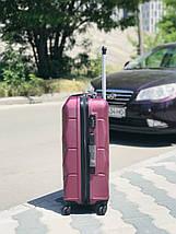 Большой пластиковый чемодан из поликарбоната бордовый на 4-х колесах / Велика пластикова валіза, фото 2