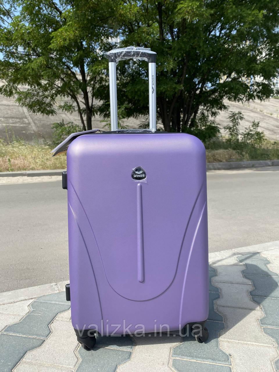 Середній пластиковий чемодан фіолетовий на 4-х колесах / Середня пластикова валіза золота
