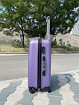 Середній пластиковий чемодан фіолетовий на 4-х колесах / Середня пластикова валіза золота, фото 2