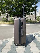 Средний пластиковый чемодан коричневая на 4-х колесах / Середня пластикова валіза, фото 3