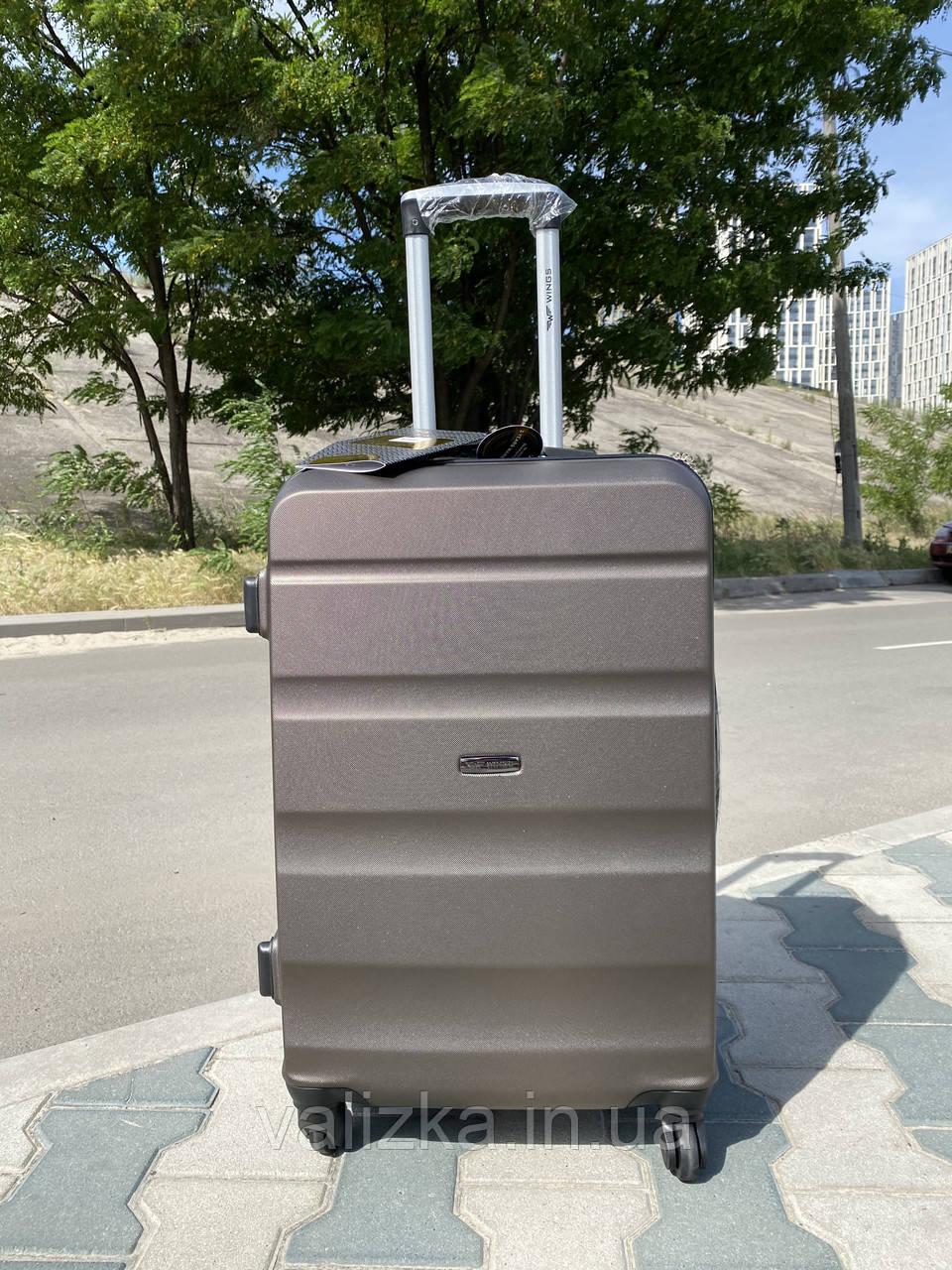Большой пластиковый чемодан из поликарбоната кофейный на 4-х колесах / Велика пластикова валіза