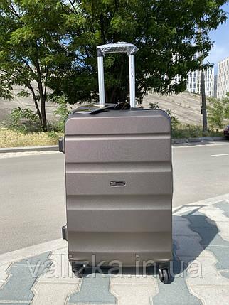 Большой пластиковый чемодан из поликарбоната кофейный на 4-х колесах / Велика пластикова валіза, фото 2