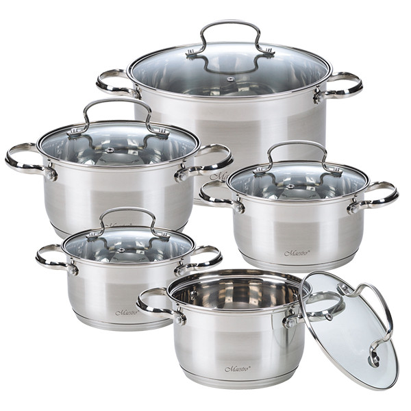 Набір посуду Maestro з сріблястими ручками, 10 предметів