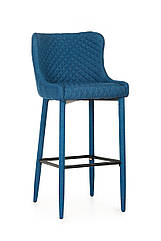 Барний стілець м'який B-120, тканину вельвет синій, метал