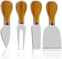 Набор ножей для сыра 4 шт ножи из нержавеющей стали и бамбука, фото 1
