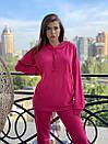Спортивный женский летний костюм с объемным худи и штанами на манжетах 72so970, фото 3