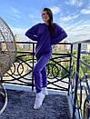 Спортивный женский летний костюм с объемным худи и штанами на манжетах 72so970, фото 5