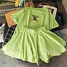 Женский летний костюм с расклешенными шортами и футболкой из трикотажа 77ks794, фото 3