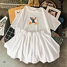 Женский летний костюм с расклешенными шортами и футболкой из трикотажа 77ks794, фото 4