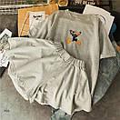 Женский летний костюм с расклешенными шортами и футболкой из трикотажа 77ks794, фото 5