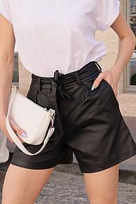 Женские черные кожаные шорты с поясом на талии 8sw4