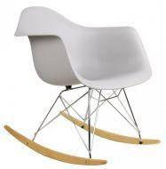 Кресло-качалка пластиковое Тауэр R, полозья, дерево, цвет серый. Кресло для кафе, баров