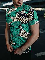 Мужская футболка трикотажная Leaves turquoise, фото 1
