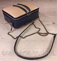 64-5 Натуральная кожа Сумка женская кросс-боди синяя бежевая Кожаная сумочка Сумка кожаная синяя бежевая, фото 3