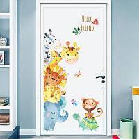 """Интерьерная наклейка на стену в детскую комнату  """"Милые зверята"""""""