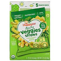Happy Family Organics, Organics Happy Tot, Мои любимые овощи, пакетик хрустящих палочек из нута, органический чеддер и шпинат, 5 пакетиков, 0,25