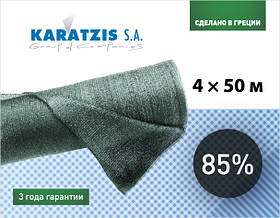 """Сетки для затенения """"KARATZIS"""" 85%  зеленая 50 X 4 м"""