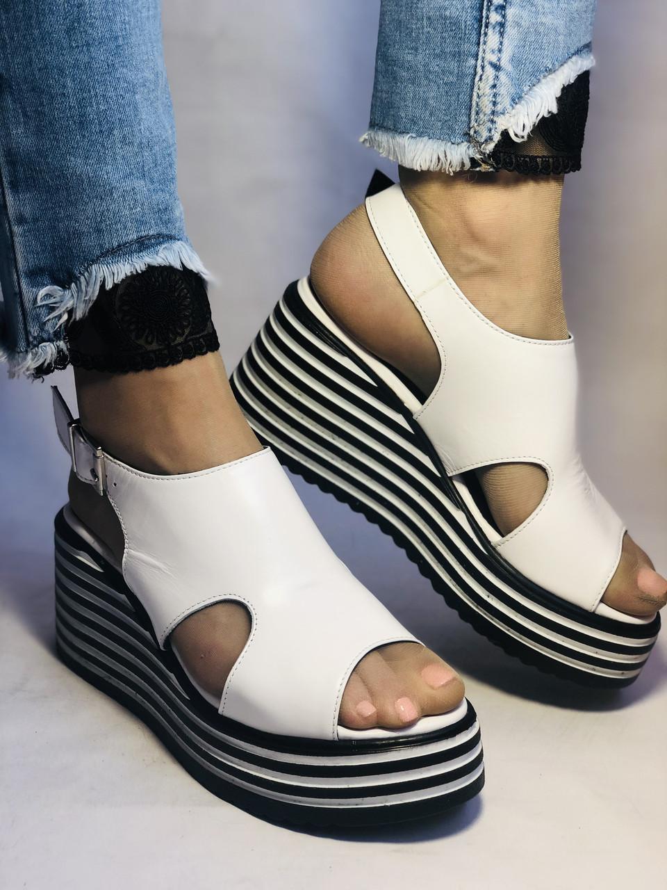 Хіт! Жіночі босоніжки на середній платформі. Натуральна шкіра.Туреччина. Розмір 37-40/ Vellena