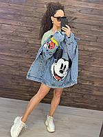 Женская джинсовая куртка оверсайз с рисунком Микки на спине 76mku299, фото 1