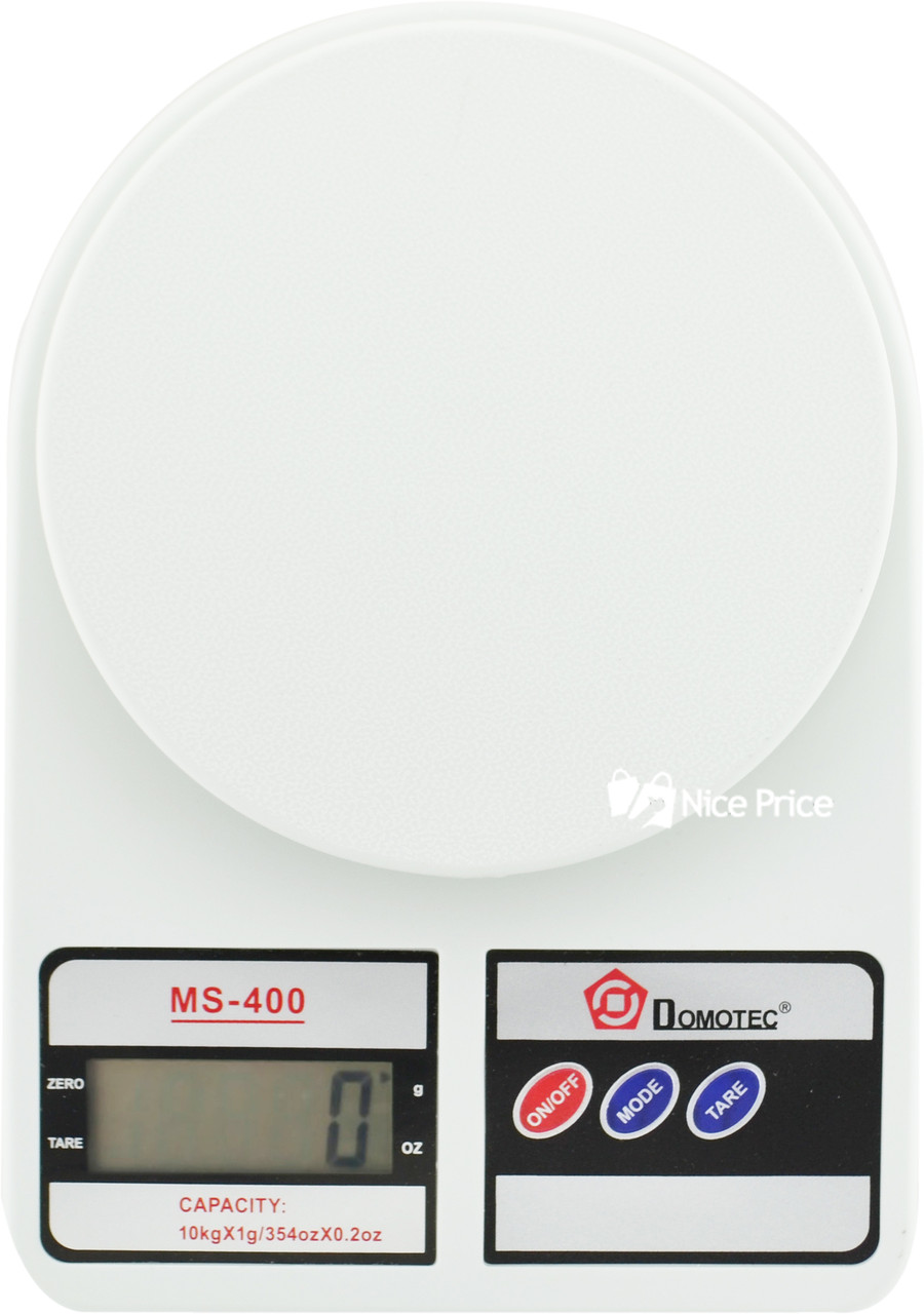 Электронные кухонные весы Domotec MS-400 с дисплеем на 10 кг + Батарейки (2857) #S/O
