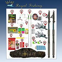 Набор для ловли карпа и карася. 2 спининга Kalipso по 2.1м в полном сборе+ подставки и чехол в подарок. №96