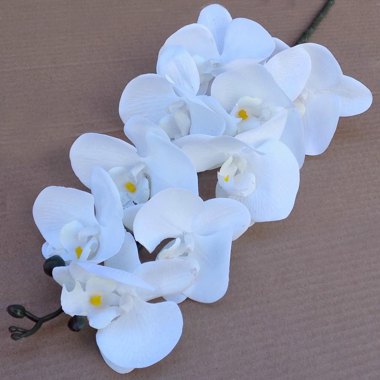 Орхидея ветка фаленопсис белая 105 см Бархат