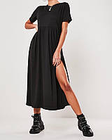 Платье женское длинное с разрезом чёрное, серое, 42-44, 46-48