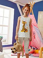 "Пижама для девочки на лето с коротким рукавом ""Жираф"" Турция"