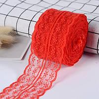 Кружево 4,5 см красное (не тянется)