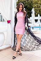 Стильный костюм женский с кардиганом и платьем розовый