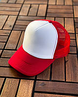 Кепка-тракер мужская с сеткой / White-Red, фото 1